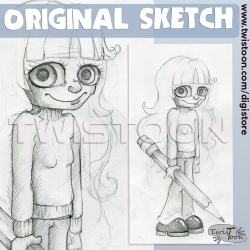 Original Sketch - Pencil Girl