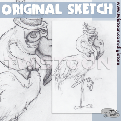 Original Sketch - Flamingo