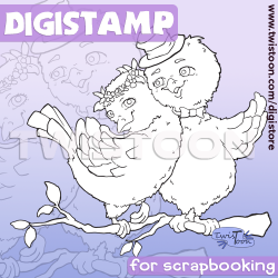 Two Turtle Doves Digital Stamp