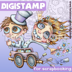 Just Married Digistamp for weddings