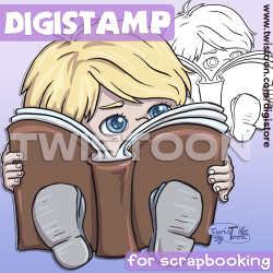Boy Reading Chibi Digi Stamp