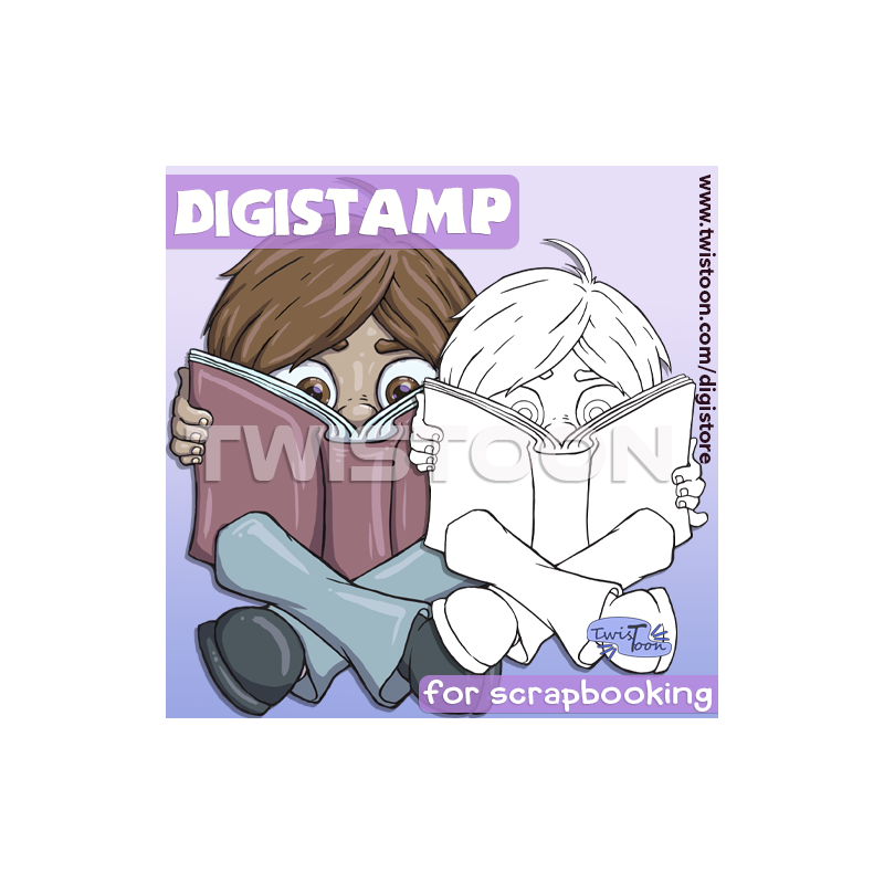 Boy Nose In Book Reading Digistamp Preview
