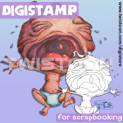 Cry Baby Quirky Digital Stamp