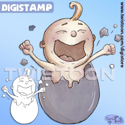 Egg Baby Digi Stamp Newborn