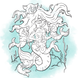Crazy Cat Mermaid Digi