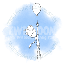 up and away balloon digi stamp