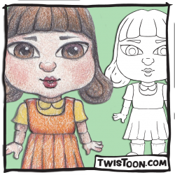 Scary Doll Digital Stamp