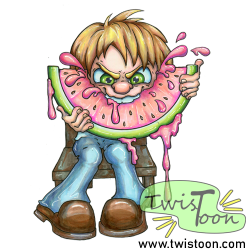Watermelon Munch Summer Digi Stamp