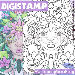 Nature Portrait Digi Stamp or Coloring Page