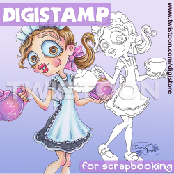 Tea Lady Digital Stamp