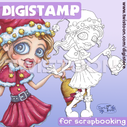 Jingle Bells Girl Digi Stamp