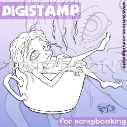 Coffee Bath Quirky Digital Stamp