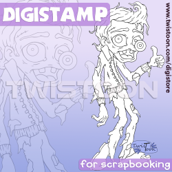 Happy Zombie Days Quirky Halloween Digi Stamp
