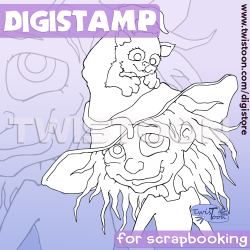 Cat In Witches Hat Digistamp
