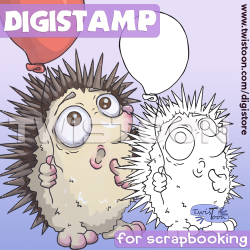 Hedgehog and Balloon Digi Stamp