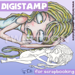 Sick Girl Digital Stamp