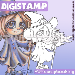 Broom Hilda Witch Digi Stamp