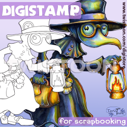 Plague Doctor Quirky Halloween Digital Stamp