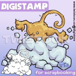 Cat Snow Dive Digistamp